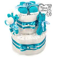 Торт из подгузников. Торт из памперсов, пинетки, носочки, погремушка. 0 - 2 месяца, морская волна
