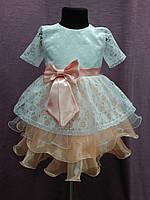 Платье детское нарядное с многослойной юбочкой на 3-5 лет белое с персиковым , фото 1