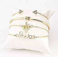Сет из четырёх стильных браслетов женских «Golden Set» (золотой), фото 1