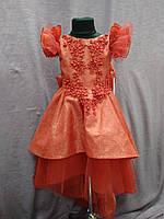 Платье детское нарядное с каскадной юбкой на 6-9 лет красное, фото 1