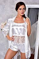 Изысканный атласный комплект для невесты халат с пижамой. Размеры от XS до XL. , фото 1