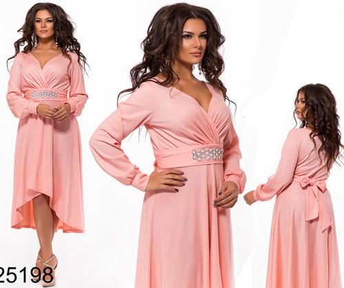 f06a4822c0e Вечернее платье с завышенной талией удлиненное сзади пудровый 825198 ...