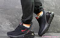 Зимние Мужские кроссовки Nike Air Max 270 Blue Red (WNTR), Замша