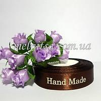 Атласная лента 1,5 см Handmade, цвет коричневый