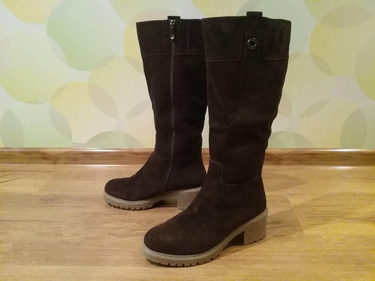 Сапоги женские замшевые , евро зима. 39 размер. Новые