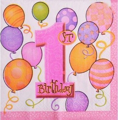 Салфетки 1 год розовые    бумажные двухслойные детские 15 штук