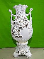 Керамическая белая напольная ваза «Галактика» (лепка)