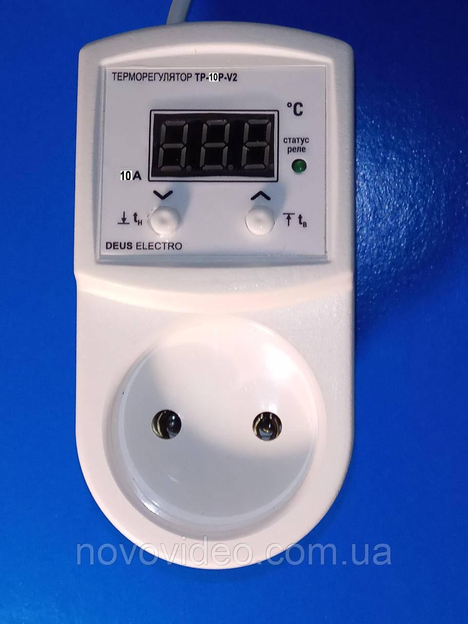 Терморегулятор цифровой в розетку для отопления ТР-10Р-V2 на 10А