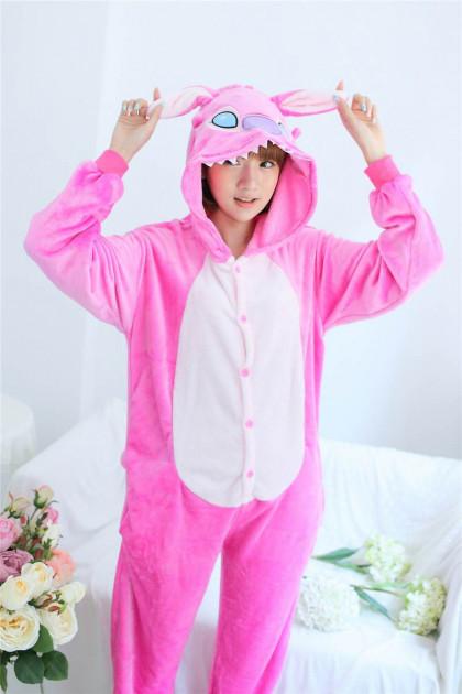 Пижама кигуруми Взрослые и Детские Cтич розовый