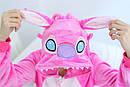 Пижама кигуруми Взрослые и Детские Cтич розовый, фото 4