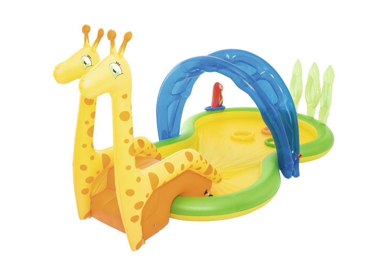 """Детский Бассейн BestWay 53060 надувной игровой, """"Зоопарк"""", с распылителем, 338 х 167 х 129 см"""