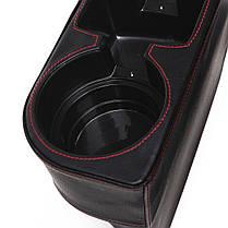 Многофункциональная кожа PU Авто Крепление для хранения сидений Коробка Seat Gap Органайзер Держатель для напитков , фото 3