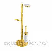Золотая стойка в ванную с ёршиком и держателем туалетной бумаги Bugnatese Olimpia F22