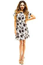 Платье 412  с ремнем серое размер 42-44