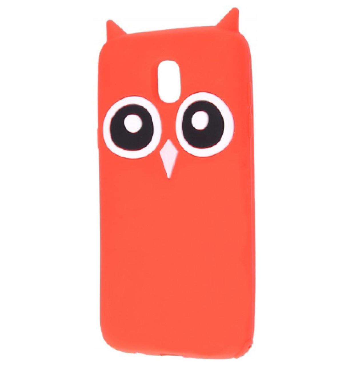Чехол-накладка TPU Сова для Samsung Galaxy J7 (2017) SM-J730F Red