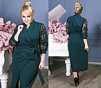 Платье  батал изумруд креп в пол с гипюром, фото 1