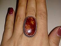 Яшма натуральная кольцо с яшмой в серебре 19-19,5 размер. Кольцо с камнем яшма Индия, фото 1