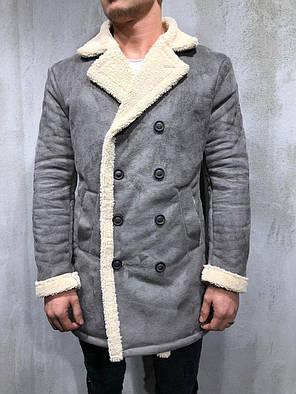 Дубленка мужская серого цвета, фото 2