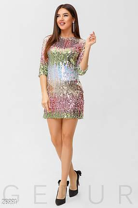 Коктейльное платье мини из цветных пайеток приталенное рукав три четверти, фото 2