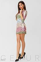 Коктейльное платье мини из цветных пайеток приталенное рукав три четверти, фото 3
