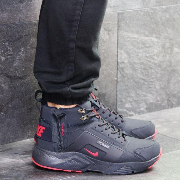 524cad327720 Мужские кроссовки Nike Huarache, зимние, кожа нубук, темно-синие, Найк 2018