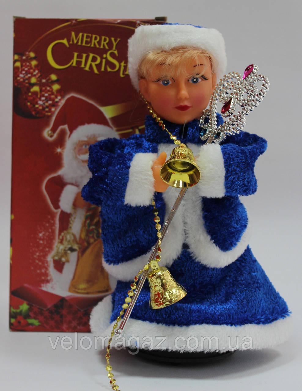 Снегурочка музыкальная, 24 см, поздравления, песня, синий цвет