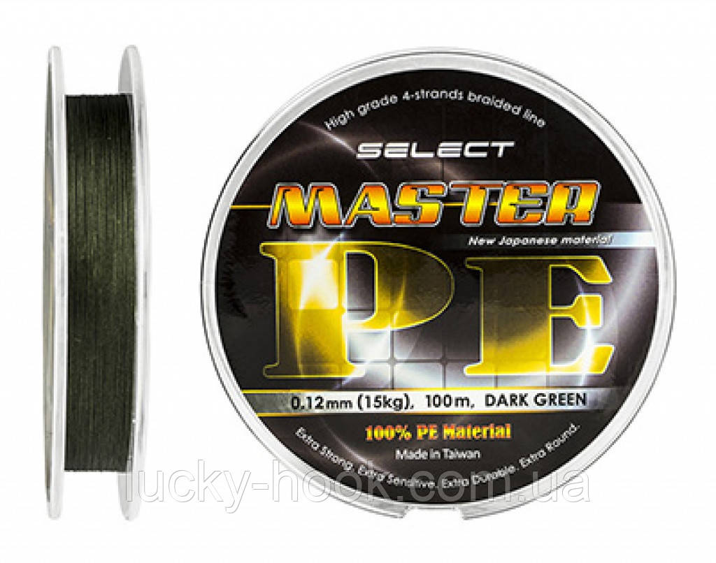 Шнур Select Master PE 100m 0.10mm 13кг темн.-зел.