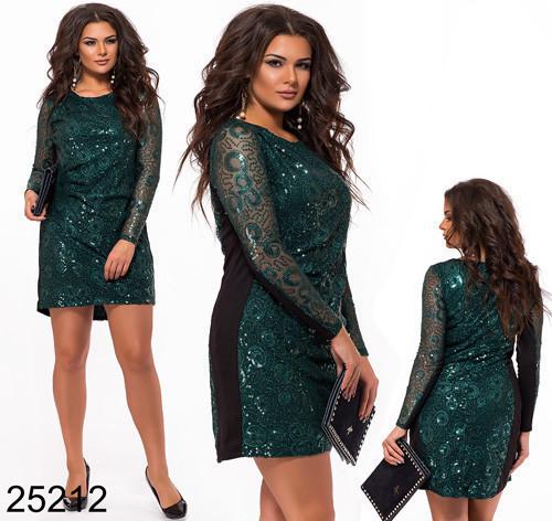 c1c8bf31a96 Вечернее платье с рукавами из сетки с пайетками цвет бутылка 825212 ...
