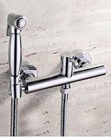 Гигиенический душ со смесителем лейкой хром 0653