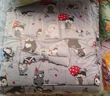 Детский постельный комплект 7 предметов Серые совы