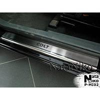 NataNiko Накладки на пороги для MITSUBISHI Colt VII '08-12 хэтчбек 3d (Комплект 2 шт.) Standart, фото 1