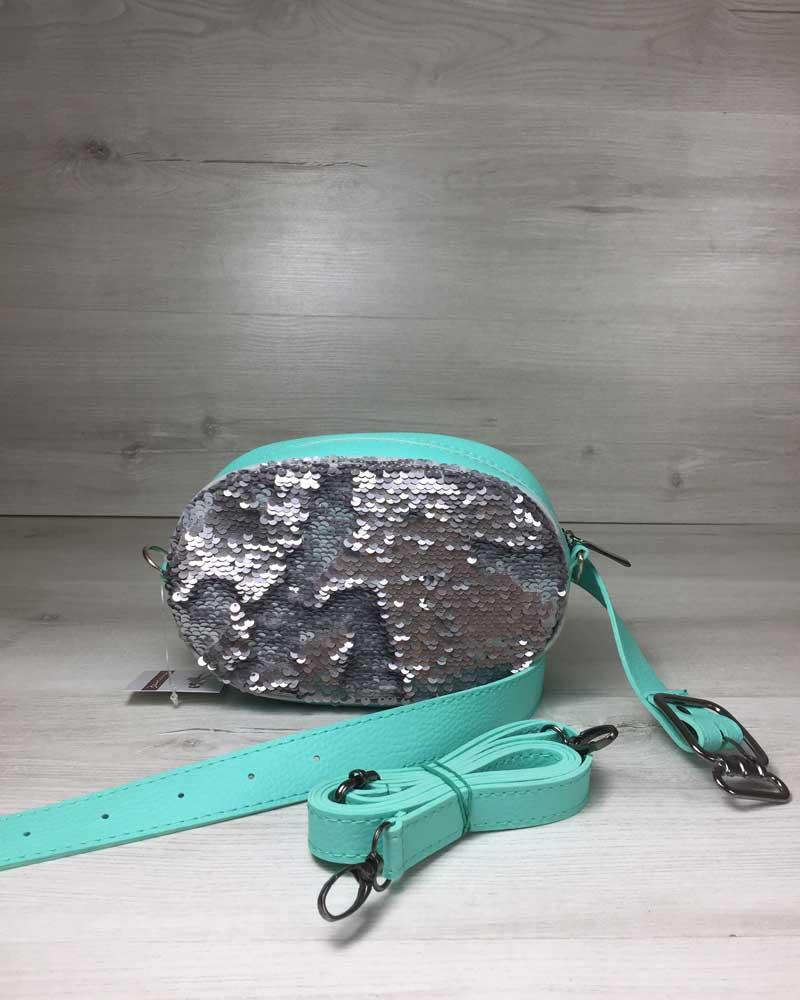 e3d0e7dc78c7 Женская сумка на пояс- клатч WeLassie мятного цвета Пайетки серебро-серебро