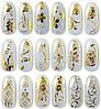 Наклейка 3Д для ногтей ANGEVI №07, самоклейка, золото