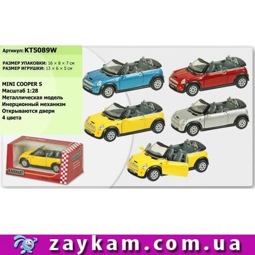 """Машина метал. """"Kinsmart"""" """"Mini Cooper S Convertible"""" в коробке 16*8, 5*7, 5см"""