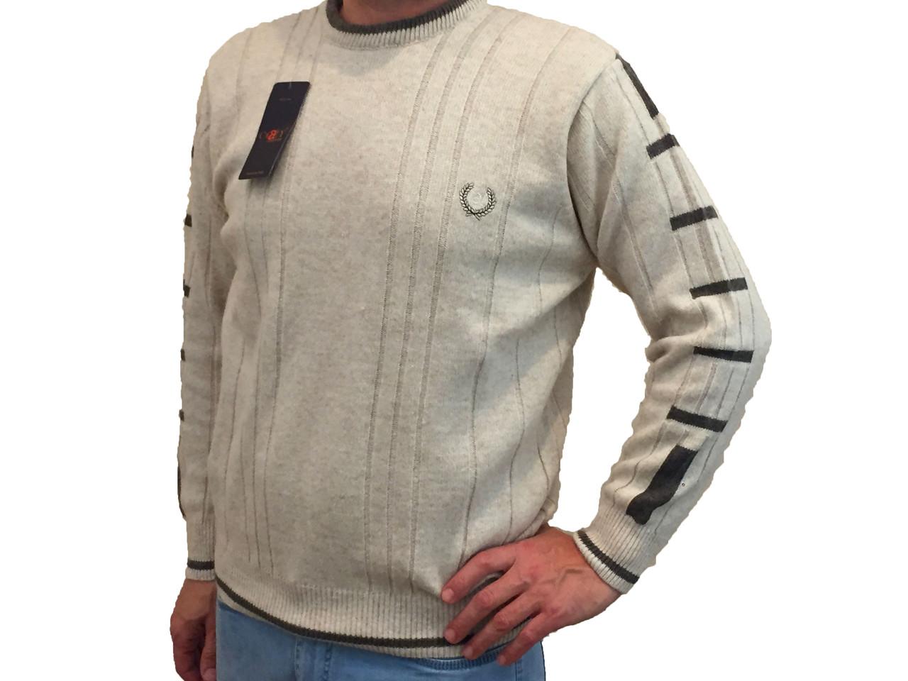 Чоловічий теплий светр № 1205 молочного кольору