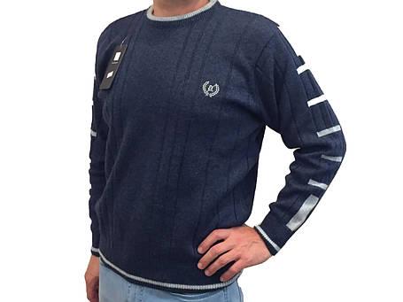 Мужской теплый свитер № 1205 голубой джинс, фото 2