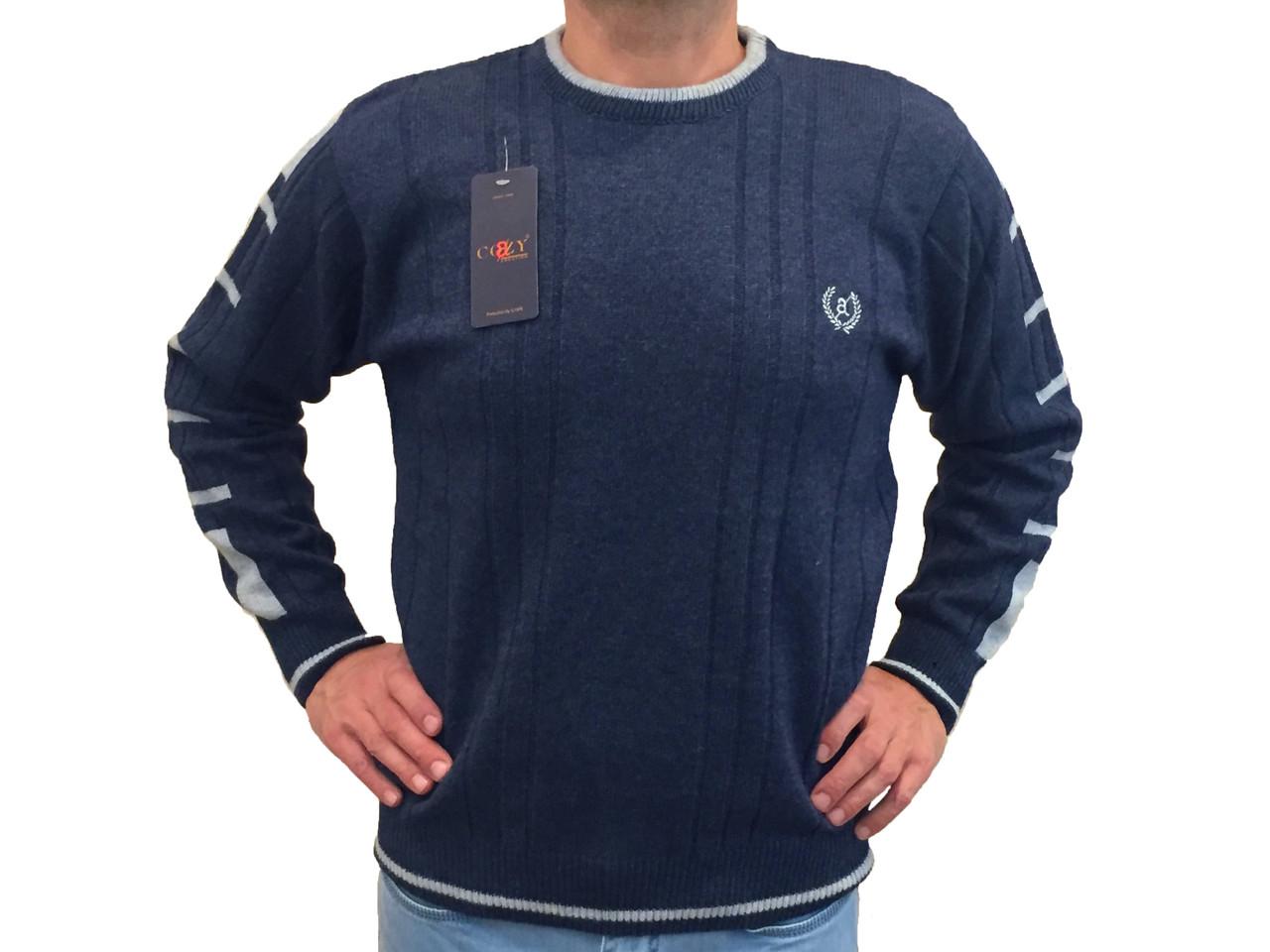 Мужской теплый свитер № 1205 голубой джинс