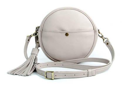 Кругла сумка з натуральної шкіри Gray beige bag Lilu