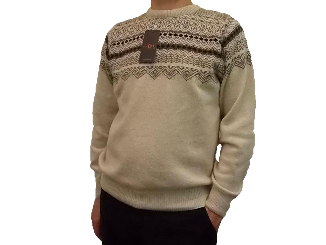 Мужской теплый свитер № 1660 беж