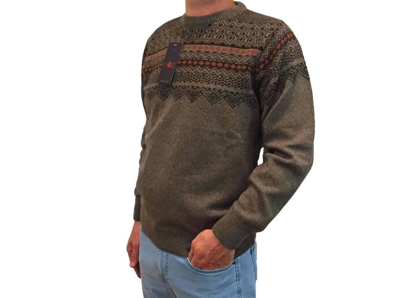 Мужской теплый свитер № 1660 коричневый