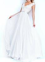 Белое Свадебное Пышное Платье в пол А-силуэт Гипюр Шифон DL-596-1c