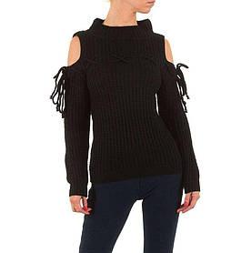 Женский свитер с открытыми плечами бренда Jcl (Франция), Черный
