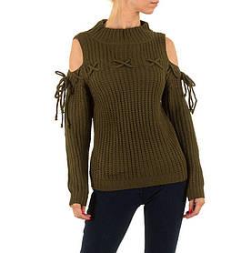 Женский свитер с открытыми плечами бренда Jcl (Франция), Хаки