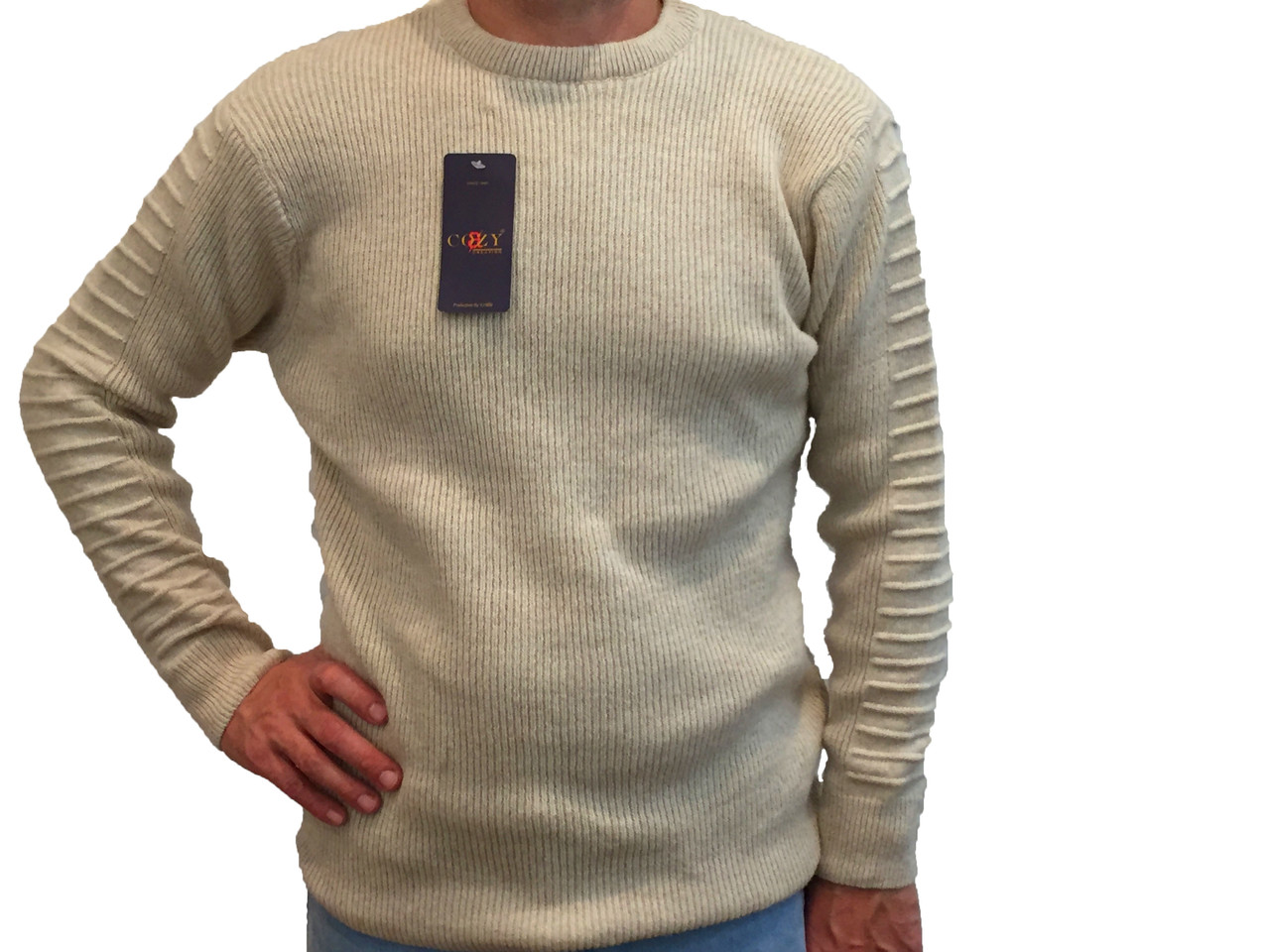 Мужской теплый свитер № 1460 бежевый