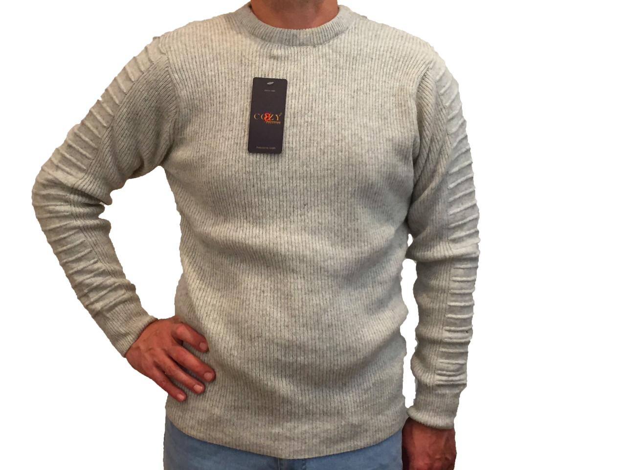 Мужской теплый свитер № 1460 серый