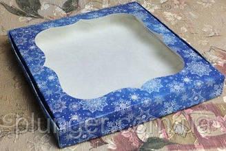Коробка для печенья, пряников с окном, 15 см х 15 см х 3 см, мелованный картон