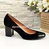 Женские черные туфли на невысоком устойчивом каблуке, фото 2