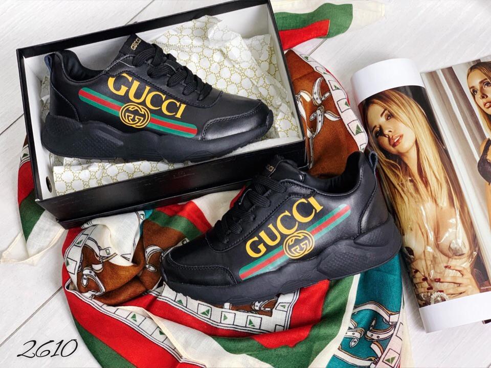 Кроссы чёрные в стиле Gucci комби 38 и 40 размеры