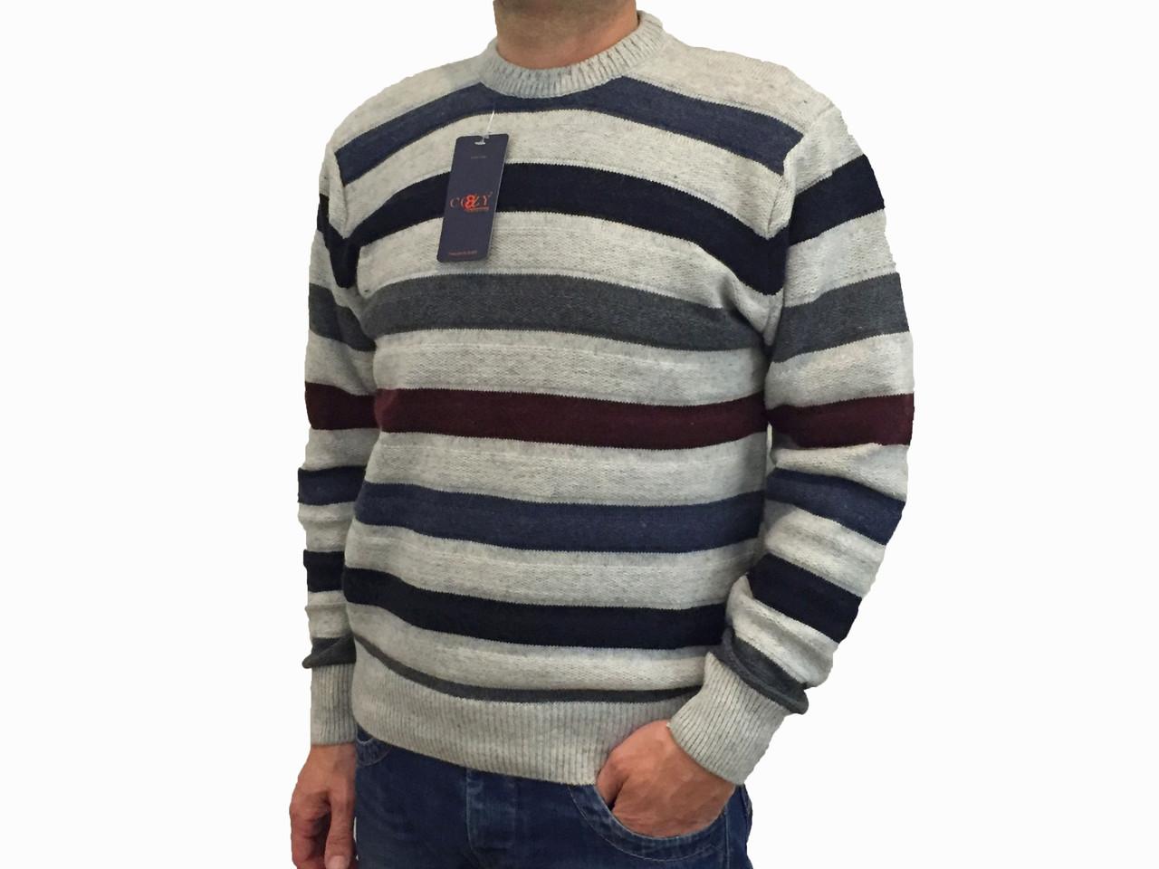 Мужской теплый свитер № 1005 полоска серый