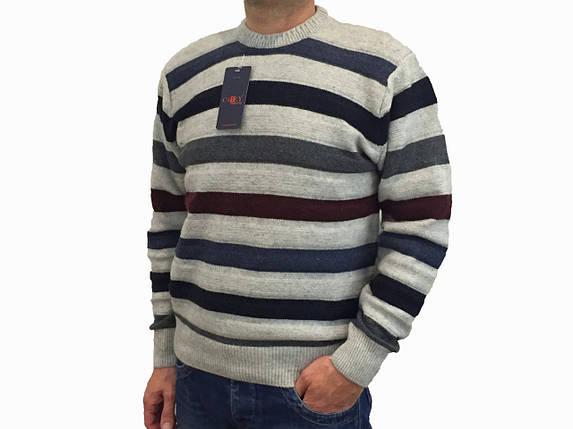 Мужской теплый свитер № 1005 полоска серый, фото 2